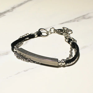 Leather, Chain, Bar Bracelet