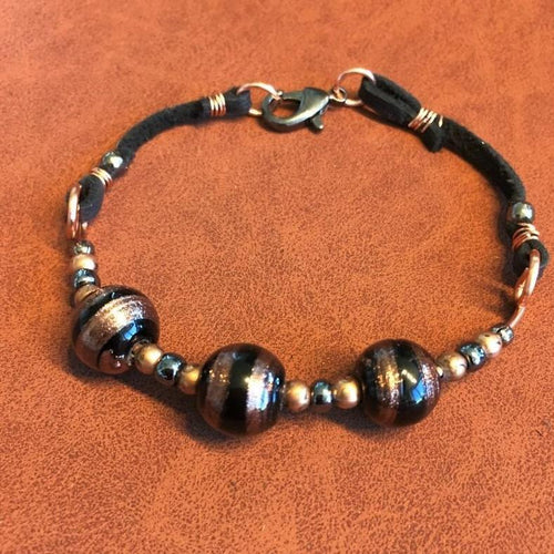Copper and Black Leather Bracelet