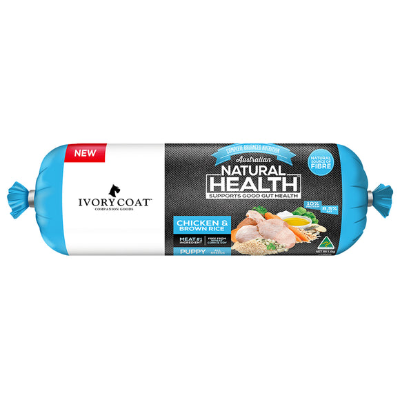 Ivory Coat Puppy Chicken W Brown Rice 1.4kg Chilled Dog Roll