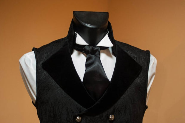 Double-breasted men's black vest - Dress Art Mystery