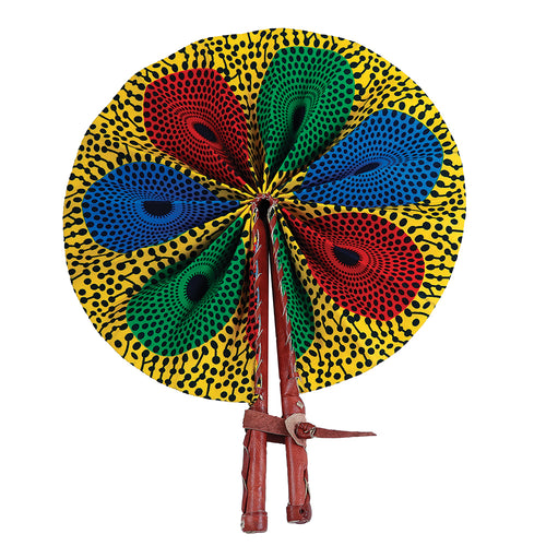 Ankara Multicolor Circle Print Leather African Fan