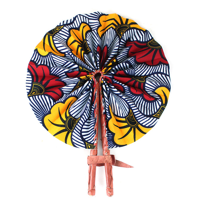 Ankara Flower Print Leather Folding Fan