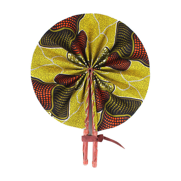 Ankara Wavy Pattern Leather Folding Fan
