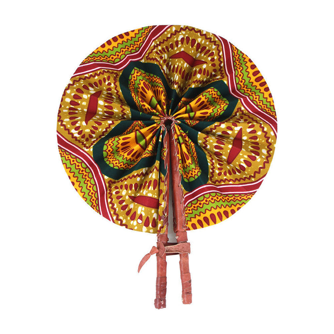 Ankara Shell Print Leather Folding Fan
