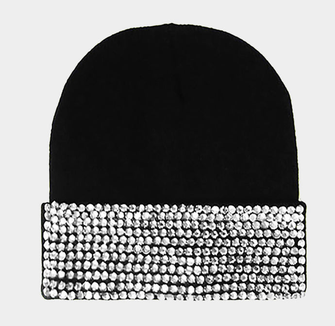 Black Knit Bling Beanie
