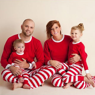 Family Matching Outfit Clothes 2020 Christmas Pajamas Set Full Sleeve Stripes Sleepwear