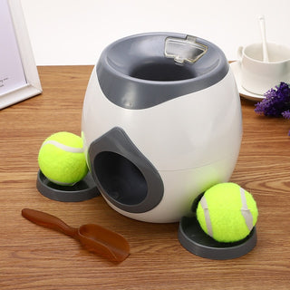 2 In 1 Creative Pet Dog Toys Interactive Automatic Ball Launcher Tennis Emission Throwing Toys Reward Machine Food Dispenser