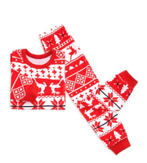 2020 Christmas Family Matching Clothes Style Red Snow And Deer Family Christmas Pajamas Set