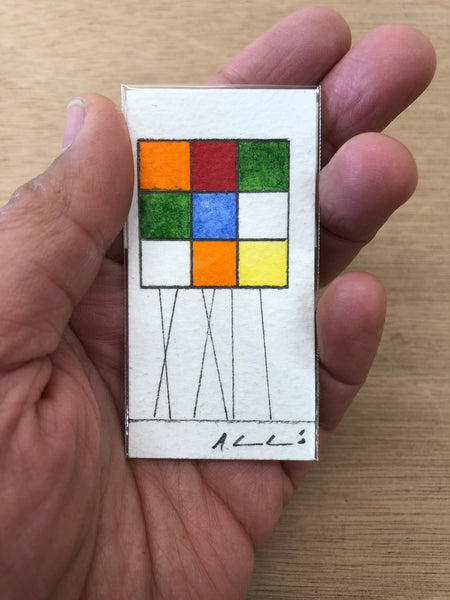 Rubik Cubes Series (16) - Watercolours on paper by Andy Leleisi'uao