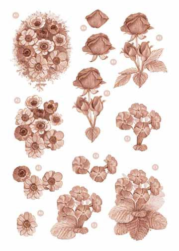 Copper Flowers -Roses/Violets