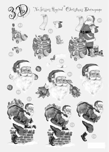 Craft UK Silver Christmas Decoupage Santa