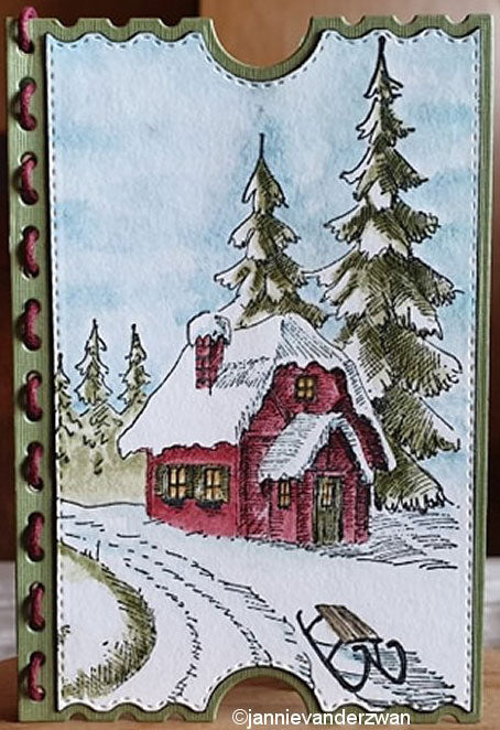 Idyllic Floral Scene Stamp Wintery House