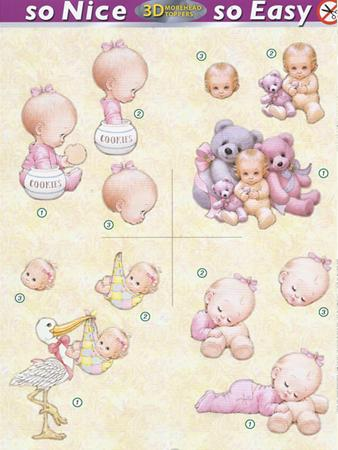 Morehead So Nice and Easy (4) -  Baby Girl, stork, cookies, teddies (DISC)
