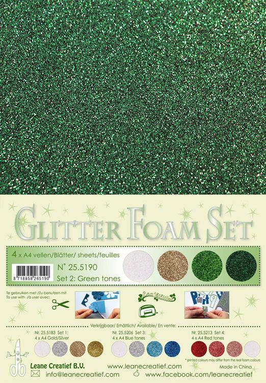 Glitter Foam Set 2 4 A4 Sheets - Green/Gold/Silver