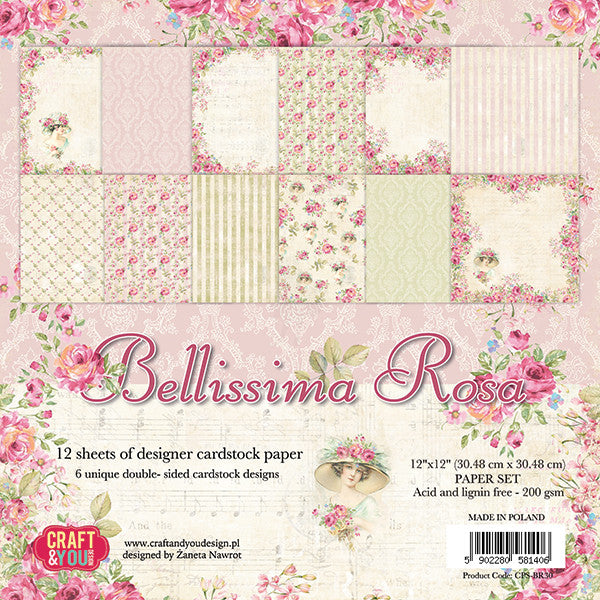 Craft & You Design Bellissima Rosa 12x12 Paper Set