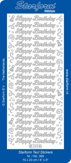 Deco Stickers - Happy Birthday with Swirls and Hats