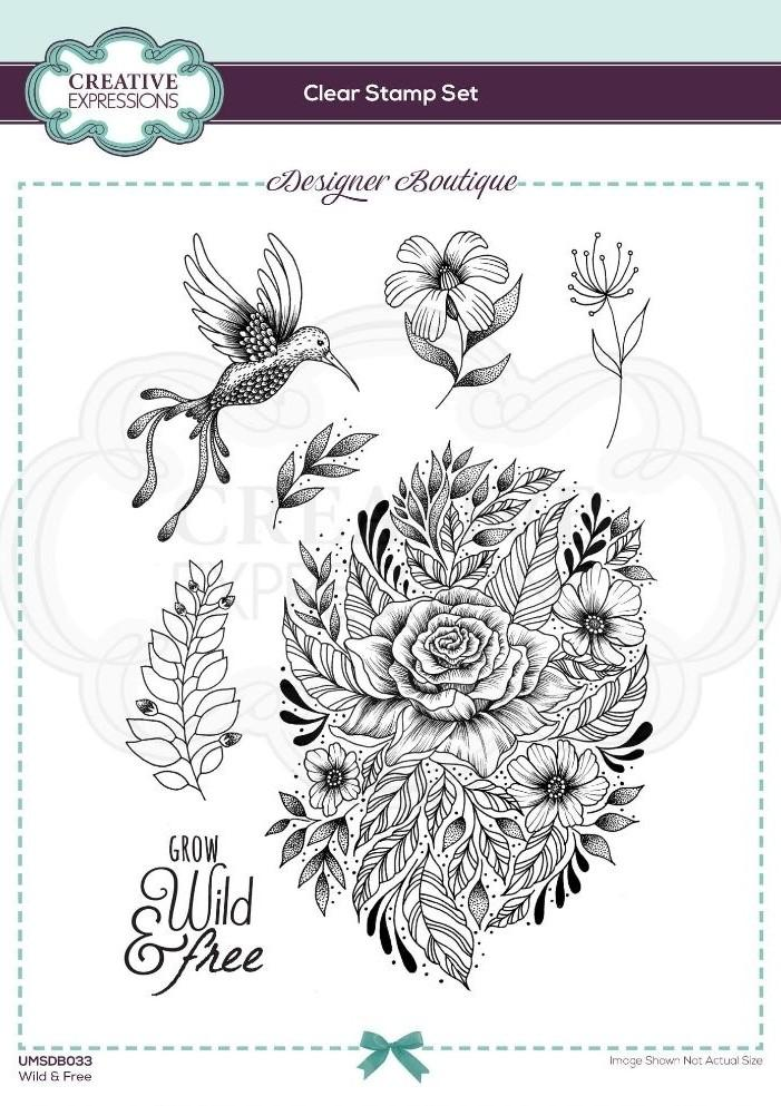 Designer Boutique Collection Wild & Free A5 Clear Stamp Set