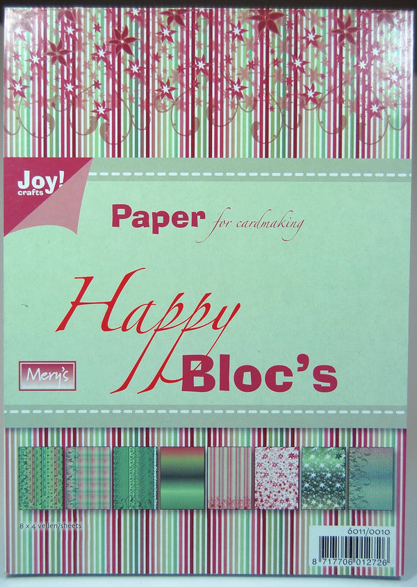Joy! Crafts A5 Paper Bloc - Happy Green and Burgundy