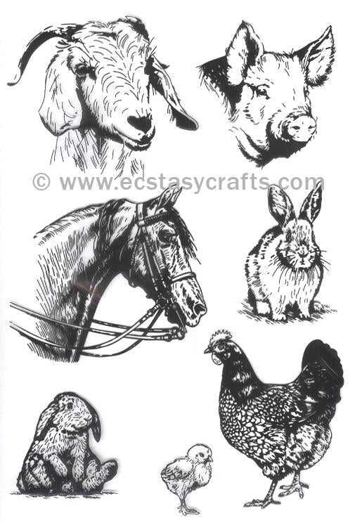 Joy Crafts - Clear Stamp - At The Farm - Animals- Horse, Rabbit