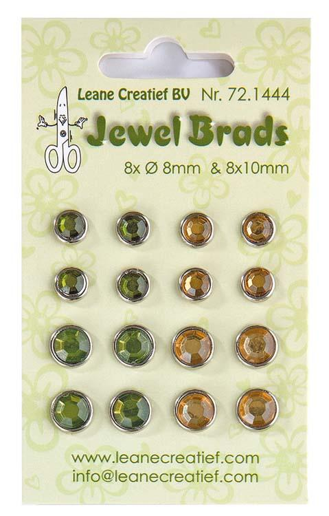 Jewel Brads - Moss Green & Light Gold