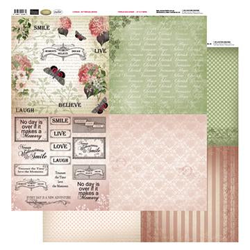 12x12 Patterned Paper  (8 Designs) - Buterflies & Words - Vintage Rose Collection (5)
