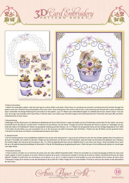 Ann Paper Embroidery Pattern -  Cupcakes