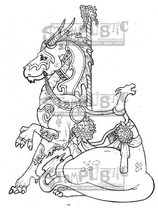 Carousel Dragon Rubber Stamp