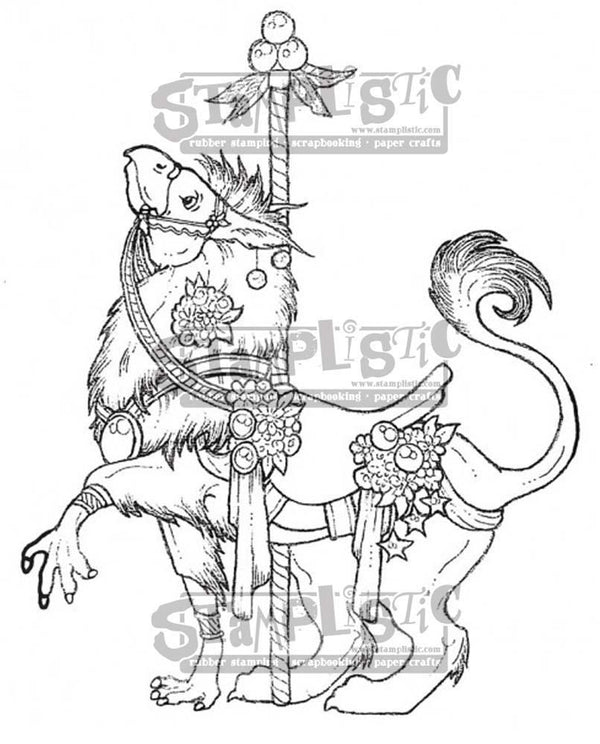 Carousel Gryphon Rubber Stamp