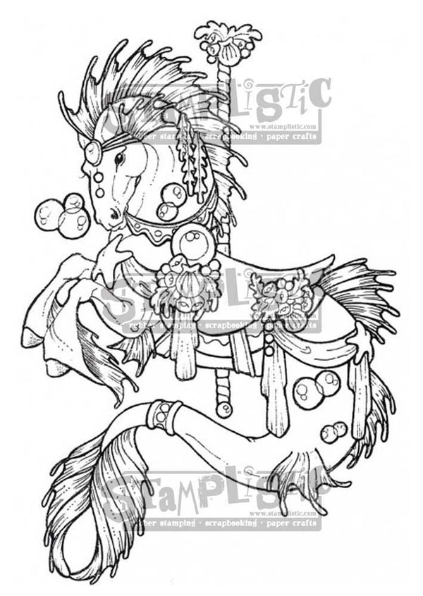 Carousel Seahorse Rubber Stamp