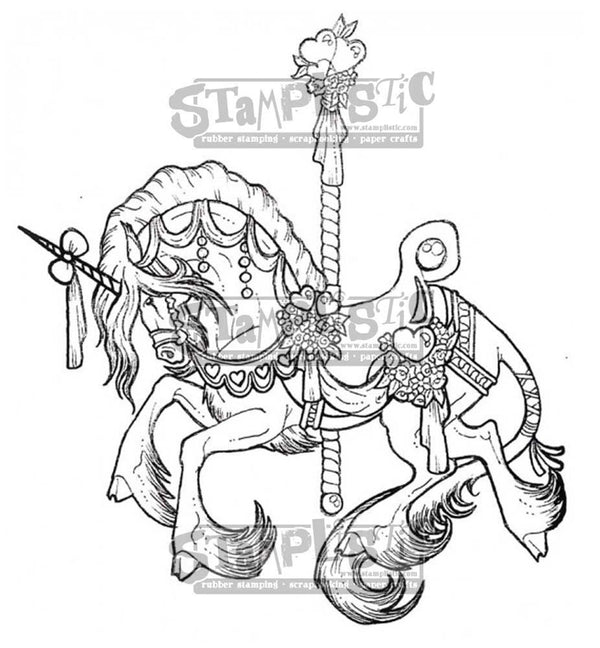 Carousel Unicorn Rubber Stamp