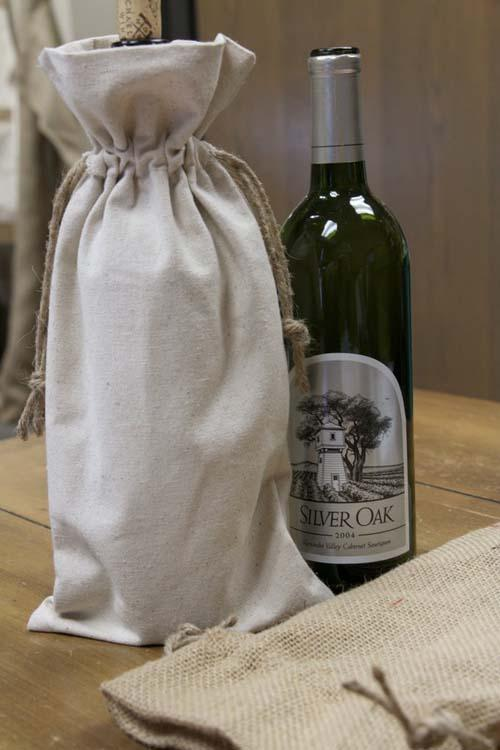 Canvas Corp Drawstring Wine Tote