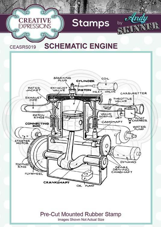 Pre Cut Rubber Stamp by Andy Skinner Schematic Engine