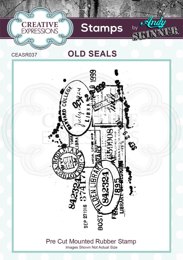 Andy Skinner Old Seals 4 in x 2.25 in Rubber Stamp