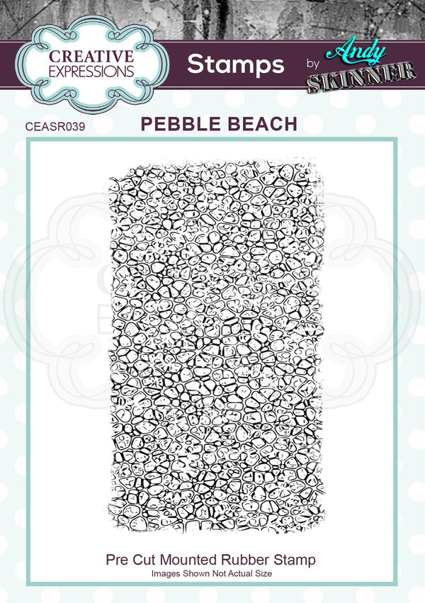 Andy Skinner Pebble Beach 2.75 in x 4.75 in Rubber Stamp