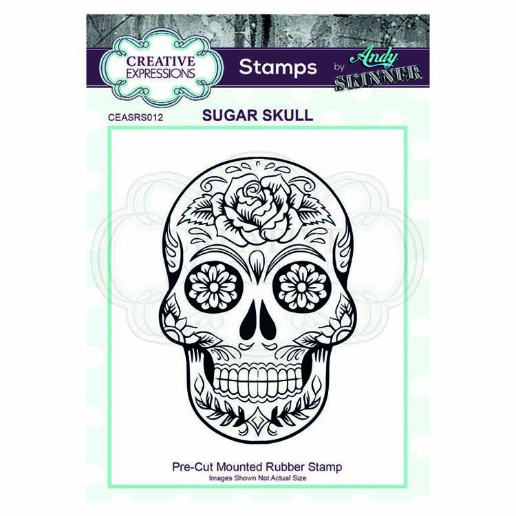 Creative Expressions  Pre Cut Rubber Stamp by Andy Skinner Sugar Skull
