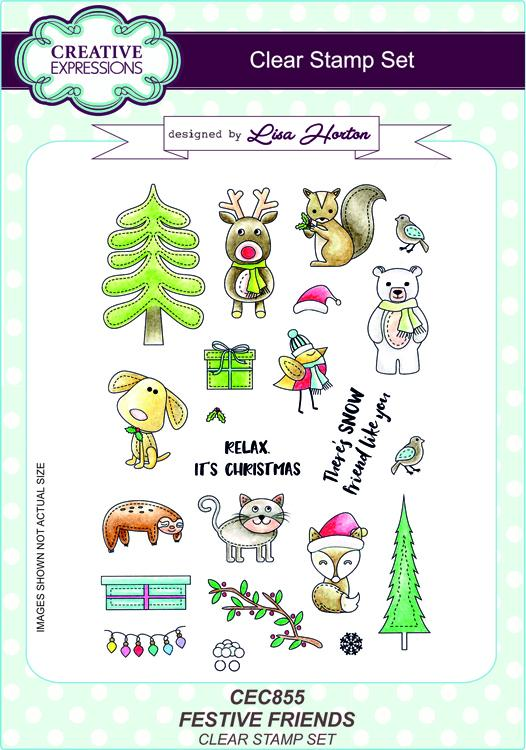 Creative Expressions Festive Friends A5 Clear Stamp Set