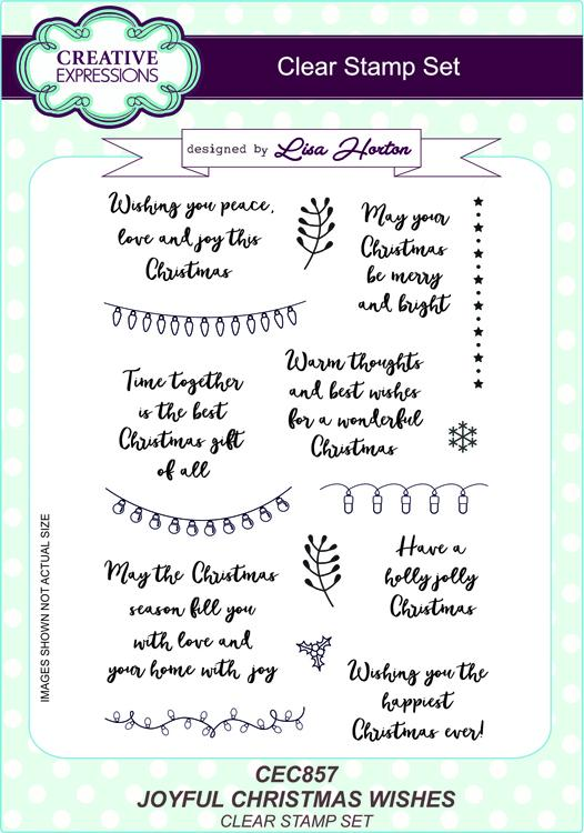 Creative Expressions Joyful Christmas Wishes A5 Clear Stamp Set