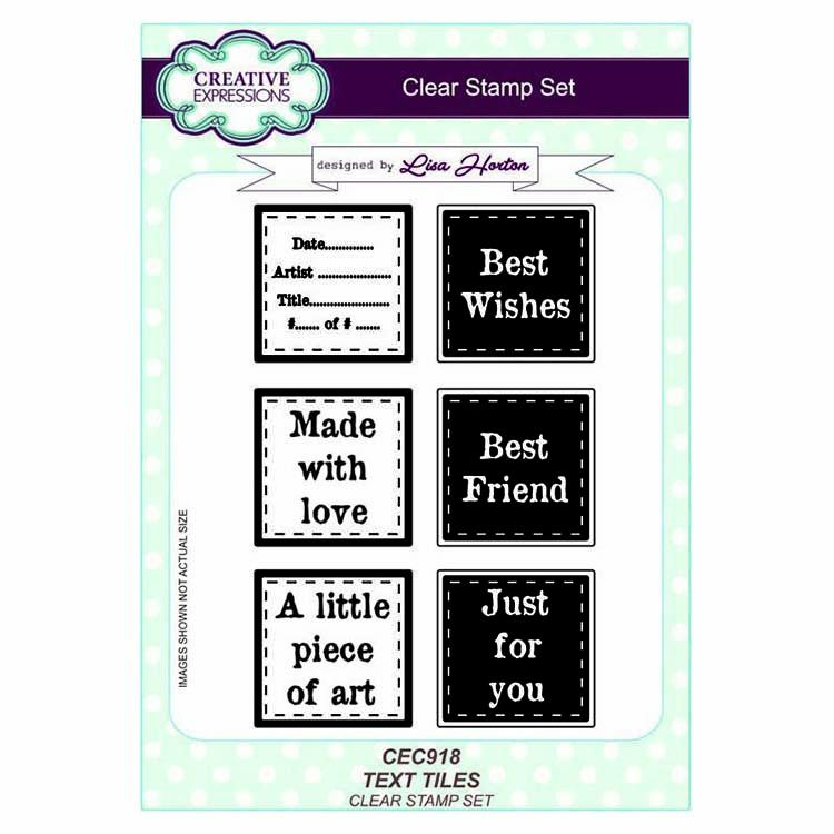 Creative Expressions A5 Artist Trading Clear Stamp Set Text Tiles