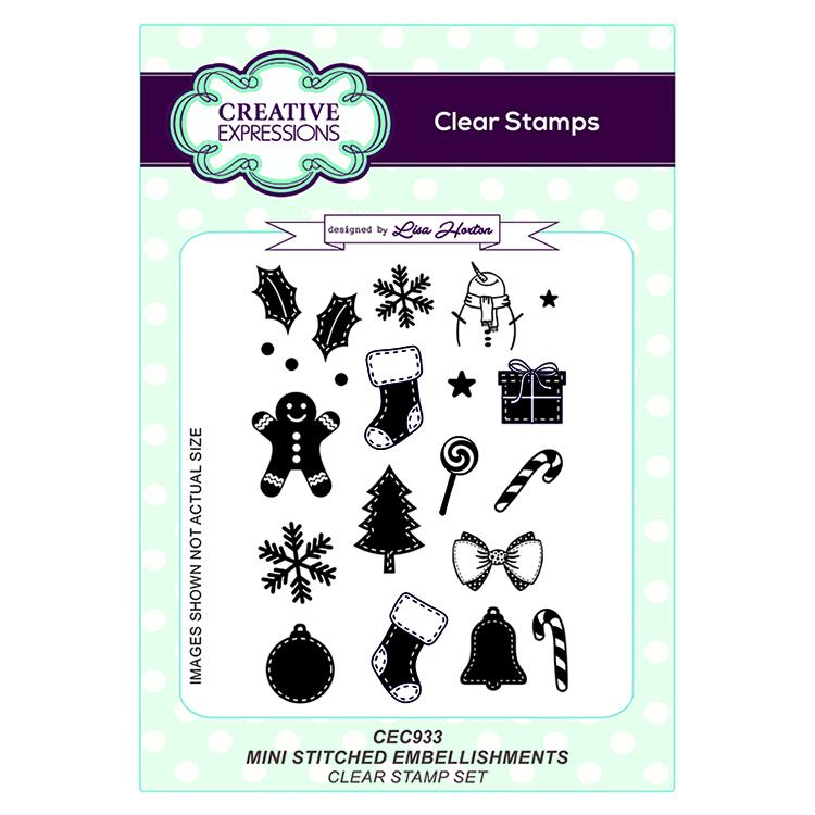 Creative Expressions Mini Stitched Embellishments A6 Clear Stamp Set