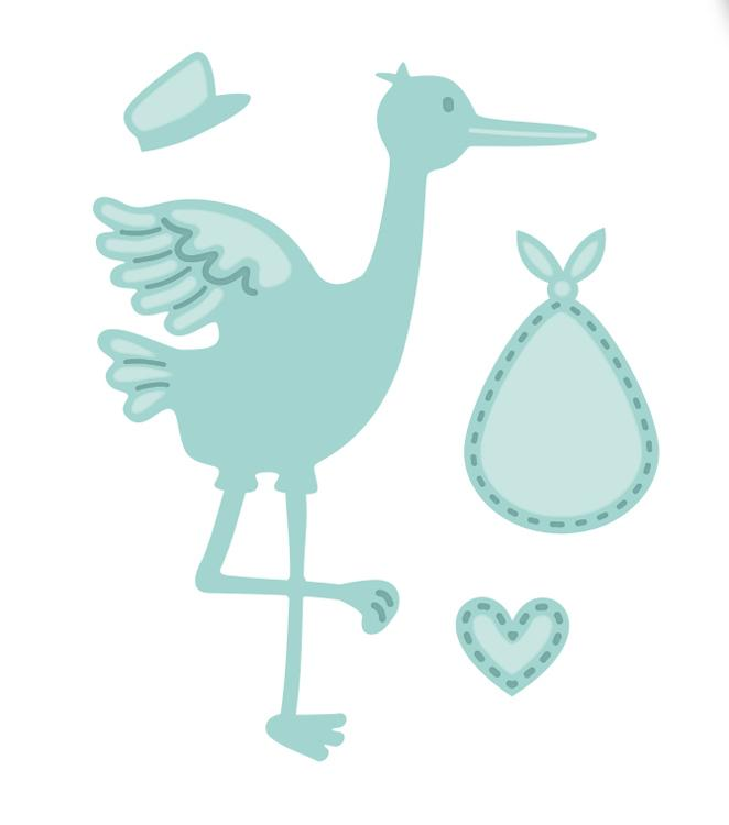 New Arrival Collection Stork and Baby Die
