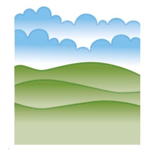 Finishing Touches Collection Stitched Hills and Clouds Die