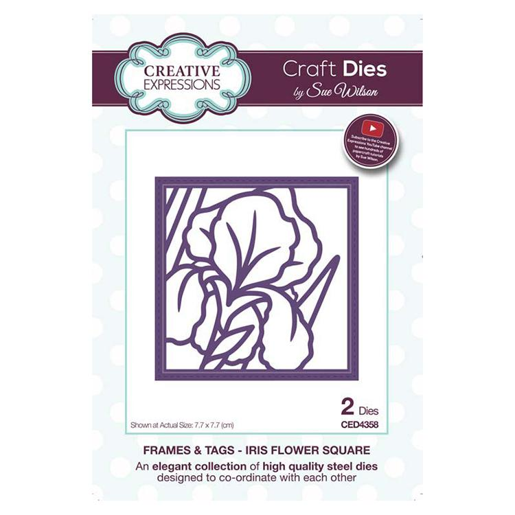 Creative Expressions Frames and Tags Collection Iris Flower Square