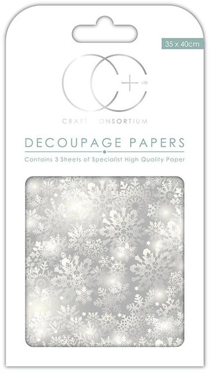 Silver Snowflakes Decoupage Papers
