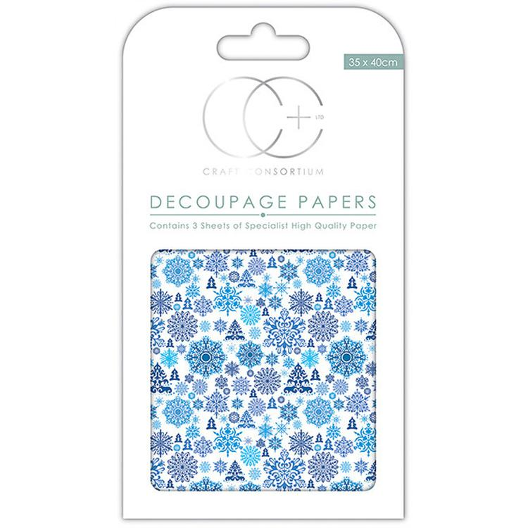 Snowflake Damask Decoupage Papers