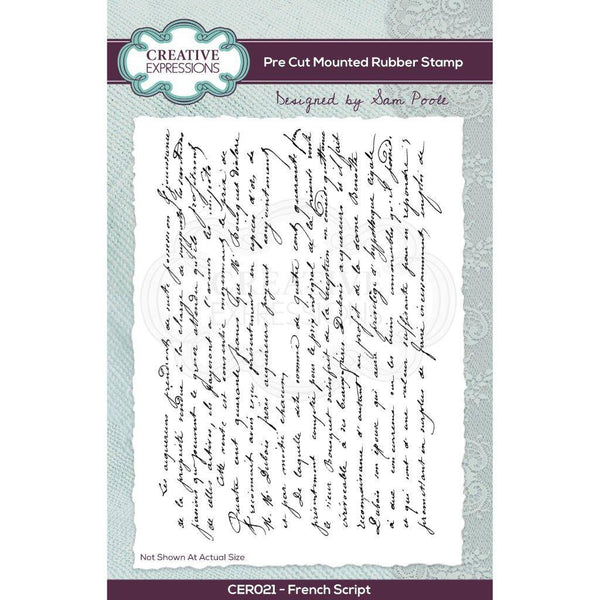 Sam Poole French Script A6 Pre Cut Rubber Stamp