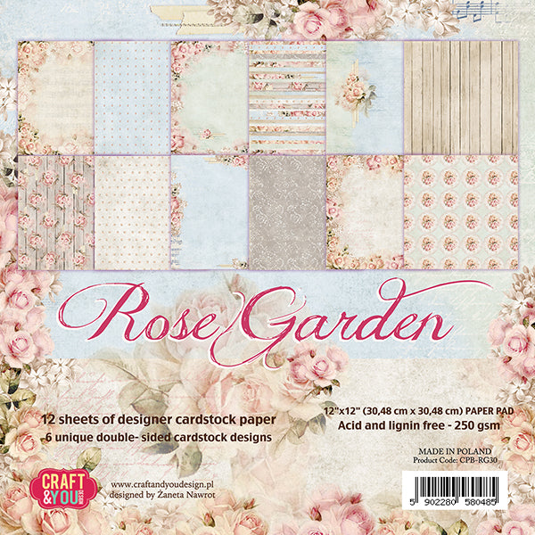 Craft & You Design Rose Garden 12x12 Paper Set