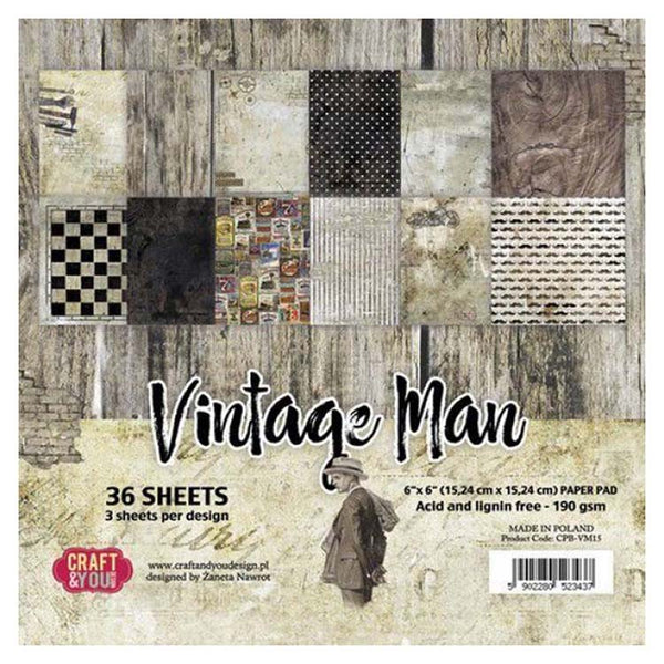 Craft & You Design Vintage Man 6x6 Paper Pad