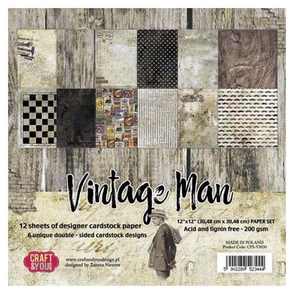 Craft & You Design Vintage Man 12x12 Paper Set