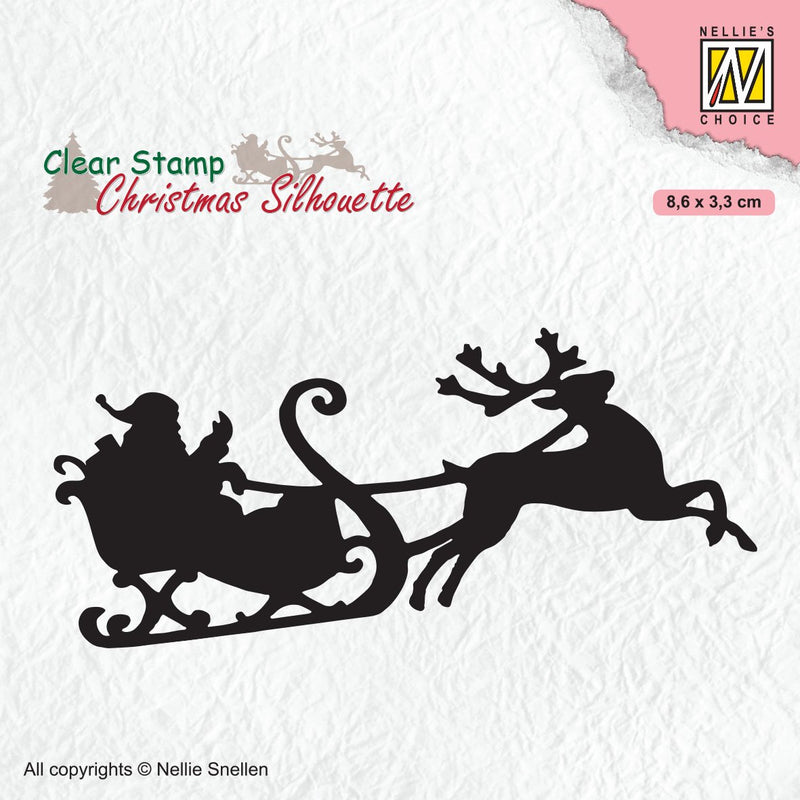 Clear Stamp Silhouette Santa Claus with Reindeer Sleight