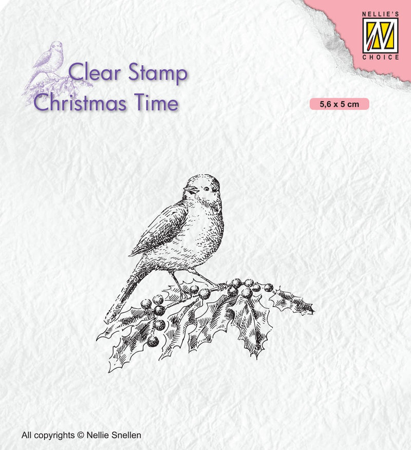 Christmas Time Clear Stamp Bird on Branch